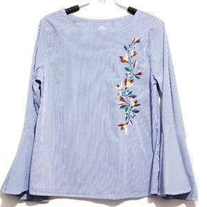 Tops - striped embroidered bell sleeve top  blue